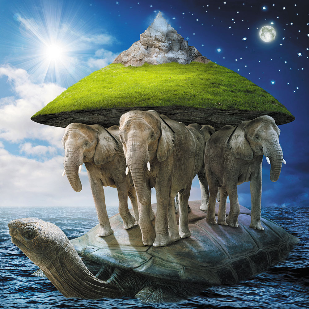 теория возникновения земли слоны черепахи голову для вальфдорской