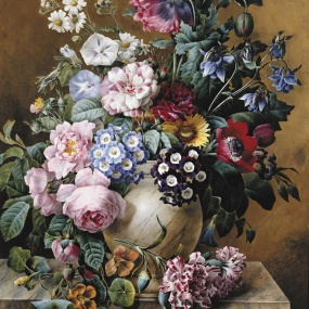 A Vase of Flowers on a Ledge by Camille de Chantereine